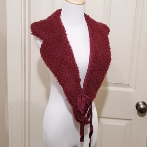 Nwt Port wine colored sherpa collar and scarf warm